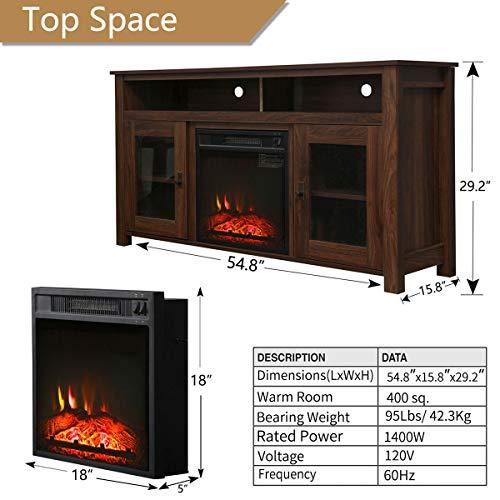 Top Space Electric Fireplace TV Stand Entertainment Center Corner Electric Fireplace Console Fireplace Heater For TVs Up To 60Wooden Electric Fireplace TV StandRustic 0 4