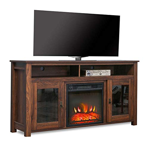 Top Space Electric Fireplace TV Stand Entertainment Center Corner Electric Fireplace Console Fireplace Heater For TVs Up To 60Wooden Electric Fireplace TV StandRustic 0
