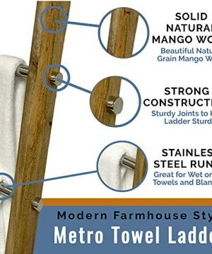 Towel Ladder For Bathroom In Modern Farmhouse Style Handcrafted 5 Ft Wooden Ladder With Stainless Steel Metal Rungs Use As Blanket Rack Quilt Ladder Decorative Leaning Ladder 0 0 300x360