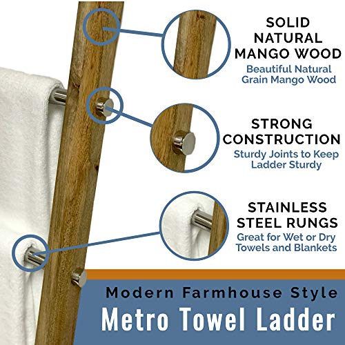 Towel Ladder For Bathroom In Modern Farmhouse Style Handcrafted 5 Ft Wooden Ladder With Stainless Steel Metal Rungs Use As Blanket Rack Quilt Ladder Decorative Leaning Ladder 0 0