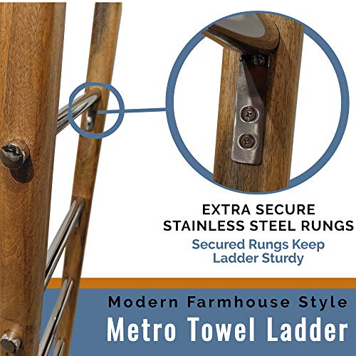 Towel Ladder For Bathroom In Modern Farmhouse Style Handcrafted 5 Ft Wooden Ladder With Stainless Steel Metal Rungs Use As Blanket Rack Quilt Ladder Decorative Leaning Ladder 0 1