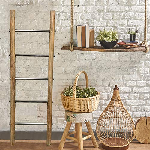 Towel Ladder For Bathroom In Modern Farmhouse Style Handcrafted 5 Ft Wooden Ladder With Stainless Steel Metal Rungs Use As Blanket Rack Quilt Ladder Decorative Leaning Ladder 0 2