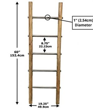 Towel Ladder For Bathroom In Modern Farmhouse Style Handcrafted 5 Ft Wooden Ladder With Stainless Steel Metal Rungs Use As Blanket Rack Quilt Ladder Decorative Leaning Ladder 0 4 300x360