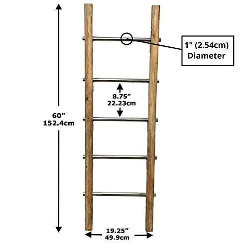 Towel Ladder For Bathroom In Modern Farmhouse Style Handcrafted 5 Ft Wooden Ladder With Stainless Steel Metal Rungs Use As Blanket Rack Quilt Ladder Decorative Leaning Ladder 0 4