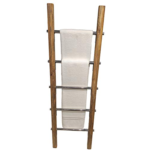 Towel Ladder For Bathroom In Modern Farmhouse Style Handcrafted 5 Ft Wooden Ladder With Stainless Steel Metal Rungs Use As Blanket Rack Quilt Ladder Decorative Leaning Ladder 0