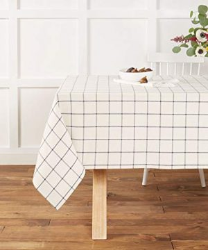 Town Country Living Checkered Farmhouse IndoorOutdoorPicnic Tablecloth 100 Woven Cotton Stain Resistant Machine Washable 52x70 White 0 300x360