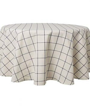Town Country Living CheckeredFarmhouse IndoorOutdoorPicnic Tablecloth 100 Woven Cotton Stain Resistant Machine Washable 70 Round White 0 300x360