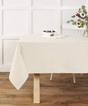 Town Country Living Gingham Tablecloth FarmhouseIndoorOutdoorPicnic 100 Woven Cotton Stain Resistant Machine Washable 60x84 Biege 0 300x360