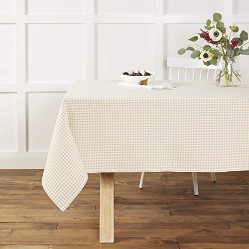 Town Country Living Gingham Tablecloth FarmhouseIndoorOutdoorPicnic 100 Woven Cotton Stain Resistant Machine Washable 60x84 Biege 0