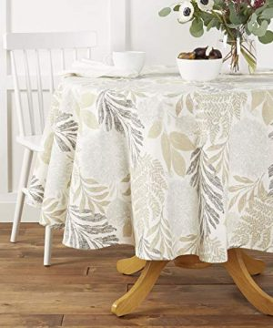 Town Country Living Hastings Tablecloth FarmhouseIndoorOutdoorPicnic 100 Woven Cotton Stain Resistant Machine Washable 70 Round Ivory 0 300x360
