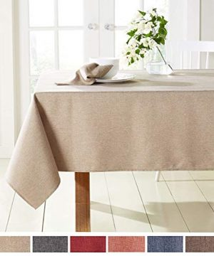 Town Country Living Somers Modern Farmhouse Tablecloth PicnicIndoor OutdoorStain ResistantMachine Washable Polyester 60x160 Rectangle Beige 0 300x360