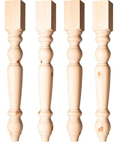 Transitional Country Dining Table Legs In Knotty Pine Set Of 4 0