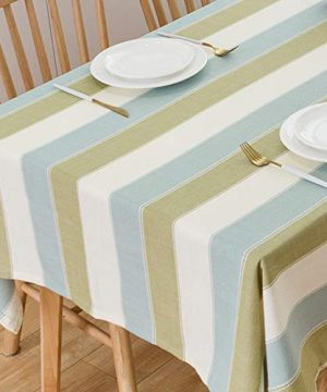 TruDelve Heavy Duty Cotton Linen Table Cloth For Square Table Farmhouse Tablecloth For Dining Table Dust Proof Table Cover For Tabletop Decoration 52x52 Green 0 300x360