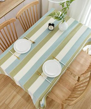 TruDelve Heavy Duty Cotton Linen Table Cloth For Square Table Farmhouse Tablecloth For Dining Table Dust Proof Table Cover For Tabletop Decoration 52x52 Green 0 4 300x360