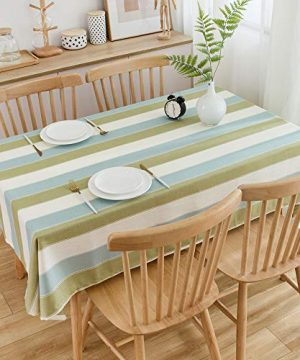 TruDelve Heavy Duty Cotton Linen Table Cloth For Square Table Farmhouse Tablecloth For Dining Table Dust Proof Table Cover For Tabletop Decoration 52x52 Green 0 5 300x360