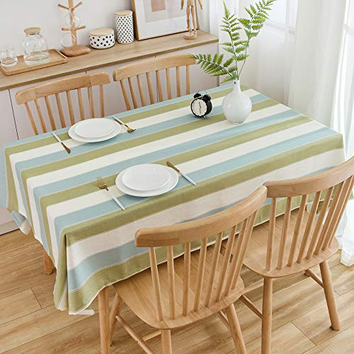 TruDelve Heavy Duty Cotton Linen Table Cloth For Square Table Farmhouse Tablecloth For Dining Table Dust Proof Table Cover For Tabletop Decoration 52x52 Green 0 5