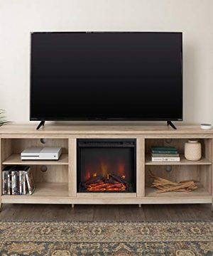 Tucker 70 Inch Television Stand With Fireplace In White Oak Finish 0 300x360