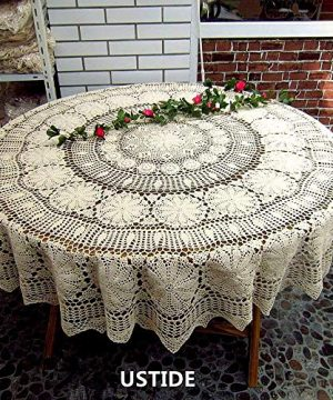 USTIDE 60 Inch White Round Crochet Cotton Lace Tablecloth Elegant Kitchen Tablecloths 0 300x360