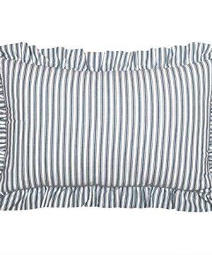 VHC Brands Farmhouse Bedding Sawyer Mill Ticking Cotton Striped Rectangle Cover Insert 14x22 Throw Pillow Blue Denim 0 300x360
