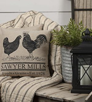 VHC Brands Farmhouse Pillows Throws Sawyer Mill 12x 12 One Size Rooster Poultry 0 0 300x333