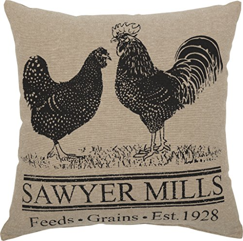 VHC Brands Farmhouse Pillows Throws Sawyer Mill 12x 12 One Size Rooster Poultry 0