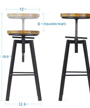 VILAVITA 2 Set Bar Stools 248 Inch To 308 Inch Adjustable Height Swivel Counter Height Bar Chair Retro Finish Industrial Style Wood Barstools 0 1 300x360