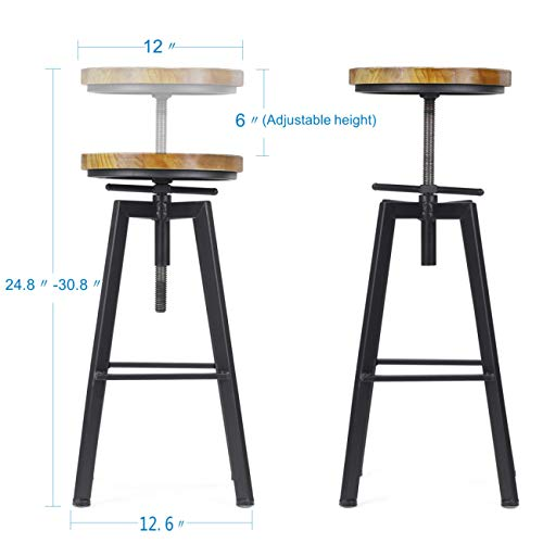 VILAVITA 2 Set Bar Stools 248 Inch To 308 Inch Adjustable Height Swivel Counter Height Bar Chair Retro Finish Industrial Style Wood Barstools 0 1