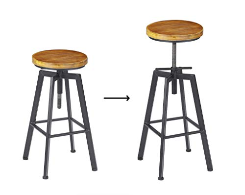 VILAVITA 2 Set Bar Stools 248 Inch To 308 Inch Adjustable Height Swivel Counter Height Bar Chair Retro Finish Industrial Style Wood Barstools 0 3