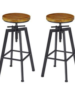 VILAVITA 2 Set Bar Stools 248 Inch To 308 Inch Adjustable Height Swivel Counter Height Bar Chair Retro Finish Industrial Style Wood Barstools 0 300x360