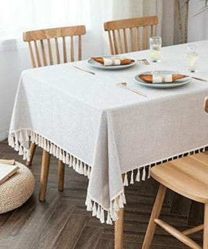 Villa Feel Textured Fabric Table Cloth Waterproof Heavy Weight Cotton Linen Fabric Dust Proof Table Cover For Kitchen Dinning Tabletop Decoration54 X 70 Rectangular Beige Texture 0 1 300x360