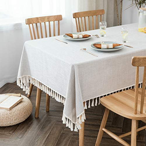 Villa Feel Textured Fabric Table Cloth Waterproof Heavy Weight Cotton Linen Fabric Dust Proof Table Cover For Kitchen Dinning Tabletop Decoration54 X 70 Rectangular Beige Texture 0 1