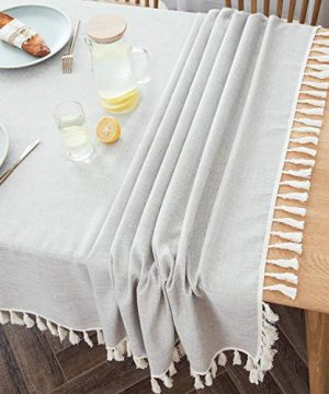 Villa Feel Textured Fabric Table Cloth Waterproof Heavy Weight Cotton Linen Fabric Dust Proof Table Cover For Kitchen Dinning Tabletop Decoration54 X 70 Rectangular Beige Texture 0 3 300x360