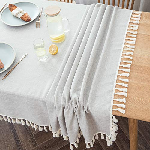 Villa Feel Textured Fabric Table Cloth Waterproof Heavy Weight Cotton Linen Fabric Dust Proof Table Cover For Kitchen Dinning Tabletop Decoration54 X 70 Rectangular Beige Texture 0 3