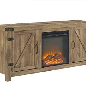 W Designs 58 Farmhouse Barn Door Fireplace TV Stand In Barnwood 0 300x360
