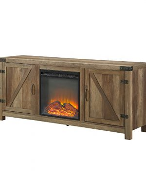 WE Furniture Farmhouse Barn Wood Fireplace Stand For TVs Up To 64 Flat Screen Living Room Storage Cabinet Doors And Shelves Entertainment Center 58 Inch Reclaimed Barnwood 0 2 300x360