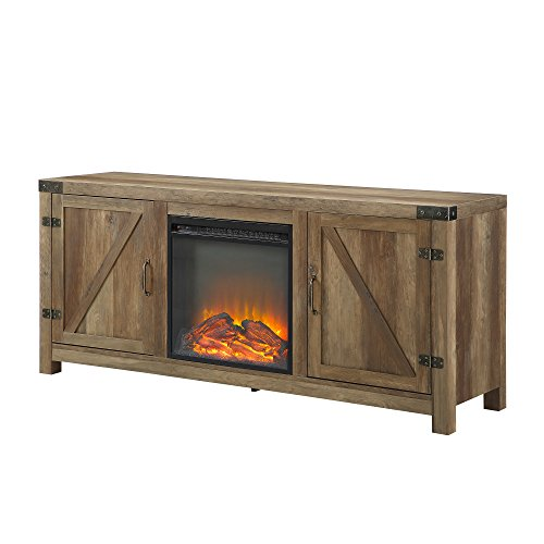 WE Furniture Farmhouse Barn Wood Fireplace Stand For TVs Up To 64 Flat Screen Living Room Storage Cabinet Doors And Shelves Entertainment Center 58 Inch Reclaimed Barnwood 0 2