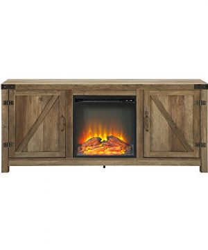 WE Furniture Farmhouse Barn Wood Fireplace Stand For TVs Up To 64 Flat Screen Living Room Storage Cabinet Doors And Shelves Entertainment Center 58 Inch Reclaimed Barnwood 0 3 300x360