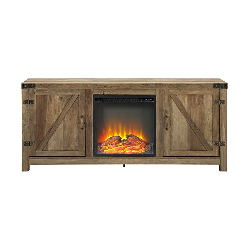 WE Furniture Farmhouse Barn Wood Fireplace Stand For TVs Up To 64 Flat Screen Living Room Storage Cabinet Doors And Shelves Entertainment Center 58 Inch Reclaimed Barnwood 0 3