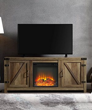 WE Furniture Farmhouse Barn Wood Fireplace Stand For TVs Up To 64 Flat Screen Living Room Storage Cabinet Doors And Shelves Entertainment Center 58 Inch Reclaimed Barnwood 0 300x360