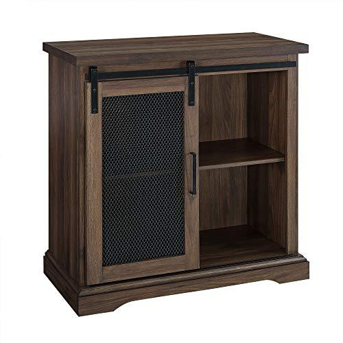 WE Furniture Industrial Farmhouse Buffet Entryway Bar Cabinet Storage 32 Inch Walnut Brown 0 0