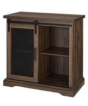 WE Furniture Industrial Farmhouse Buffet Entryway Bar Cabinet Storage 32 Inch Walnut Brown 0 2 300x360