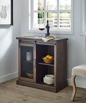 WE Furniture Industrial Farmhouse Buffet Entryway Bar Cabinet Storage 32 Inch Walnut Brown 0 300x360