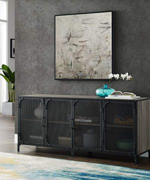 WE Furniture Industrial Metal Mesh Universal Stand With Cabinet Doors TVs Up To 64 Flat Screen Living Room Storage Entertainment Center 60 Inch Gray Wash 0 300x360