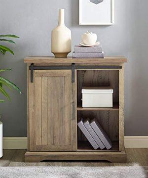 WE Furniture Modern Farmhouse Buffet Entryway Bar Cabinet Storage 32 Inch Brown Reclaimed Barnwood 0 0 300x360