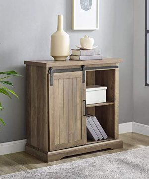 WE Furniture Modern Farmhouse Buffet Entryway Bar Cabinet Storage 32 Inch Brown Reclaimed Barnwood 0 300x360