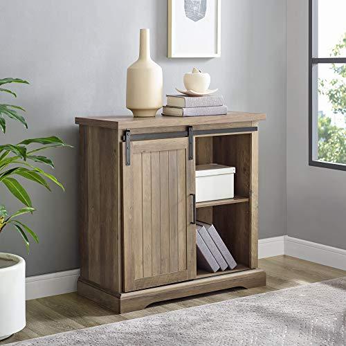 WE Furniture Modern Farmhouse Buffet Entryway Bar Cabinet Storage 32 Inch Brown Reclaimed Barnwood 0