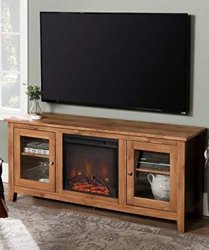WE Furniture Traditional Wood Fireplace Stand For TVs Up To 64 Living Room Storage Barnwood Brown 0 300x360
