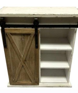 WI Sliding Barn Door Distressed Wood Storage Cabinet 0 300x360