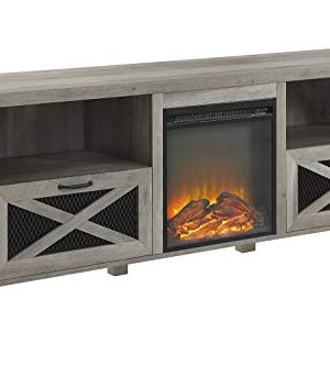 Walker Edison Furniture Company 70 Rustic Farmhouse Fireplace TV Stand Grey Wash 0 300x333