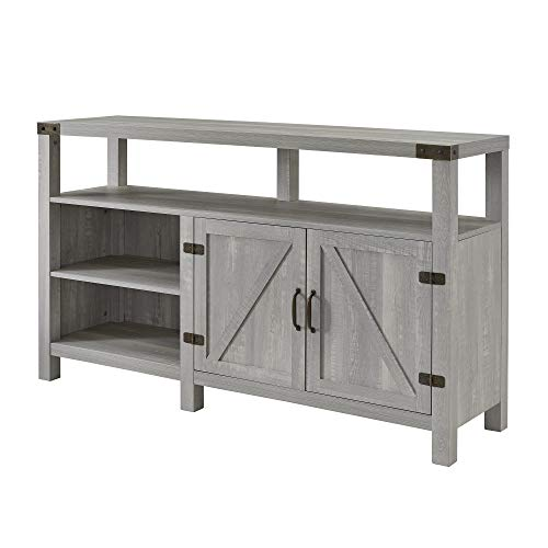 Walker Edison Furniture Company Farmhouse Barn Wood Tall Universal Stand For TVs Up To 64 Flat Screen Living Room Storage Cabinet Doors And Shelves Entertainment Center 58 Inch Stone Grey 0 2